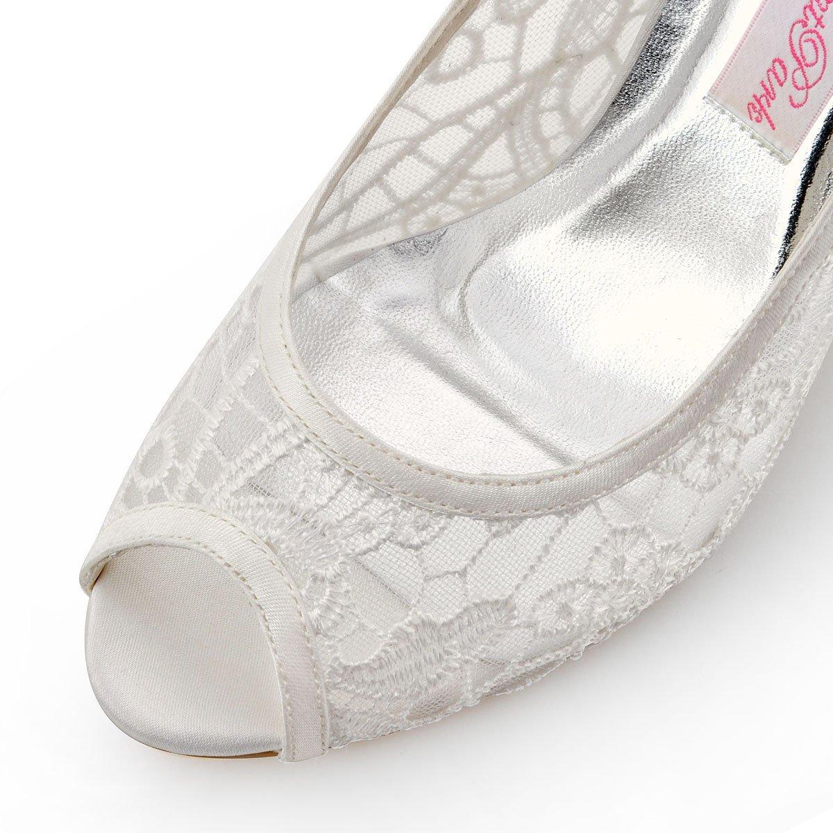 ElegantPark Ivory Women Peep Toe High Heel Pumps Vintage Lace Wedding Dress Shoes 3