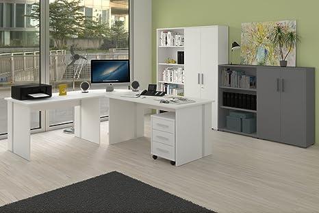 Weißes Buromöbel Set, 6-teiliges Arbeitszimmer