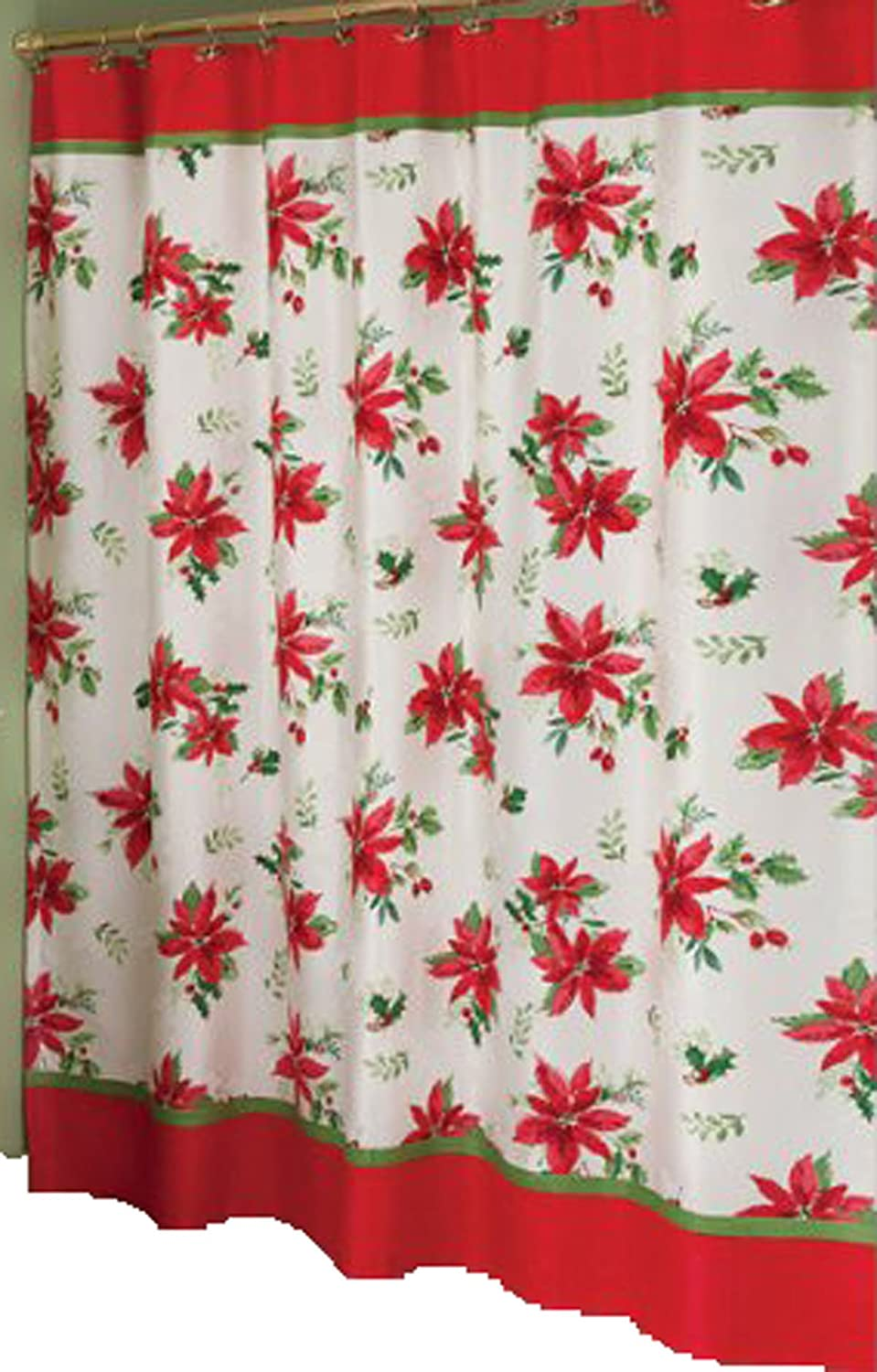 Lenox Holiday Shower Curtain Part - 38: Lenox Holiday Shower Curtain Features A Bright Red Christmas Poinsettia  Floral Motif. Coordinates With Towels And Other Bath Accessories (sold  Separately).