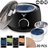 Wax Warmer Electrict Hair Removal Waxing Kit Black Rapid Melt Wax Heater With 4 Flavors Hard Wax Beans 20 Wax Applicator Sticks Women Men Home Waxing Spa for Face Arm Armpits Legs Bikini (Color: Black wax warmer)