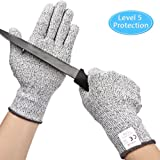 Kuelor Cut Resistant Gloves Level 5 Protection, Food Grade Kitchen Glove for Hand Protection, Stretchy Safety Gloves for Cutting, Slicing, Yard Work (Large) (Color: Gray, Tamaño: Large)