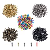 PH PandaHall 1000pcs 5 Colors Mini Brads Fasteners Metal Paper Fasteners Brass Plated Scrapbooking Brads for Crafts Making DIY (Color: Mixed 5 Colors(1000 Pcs))