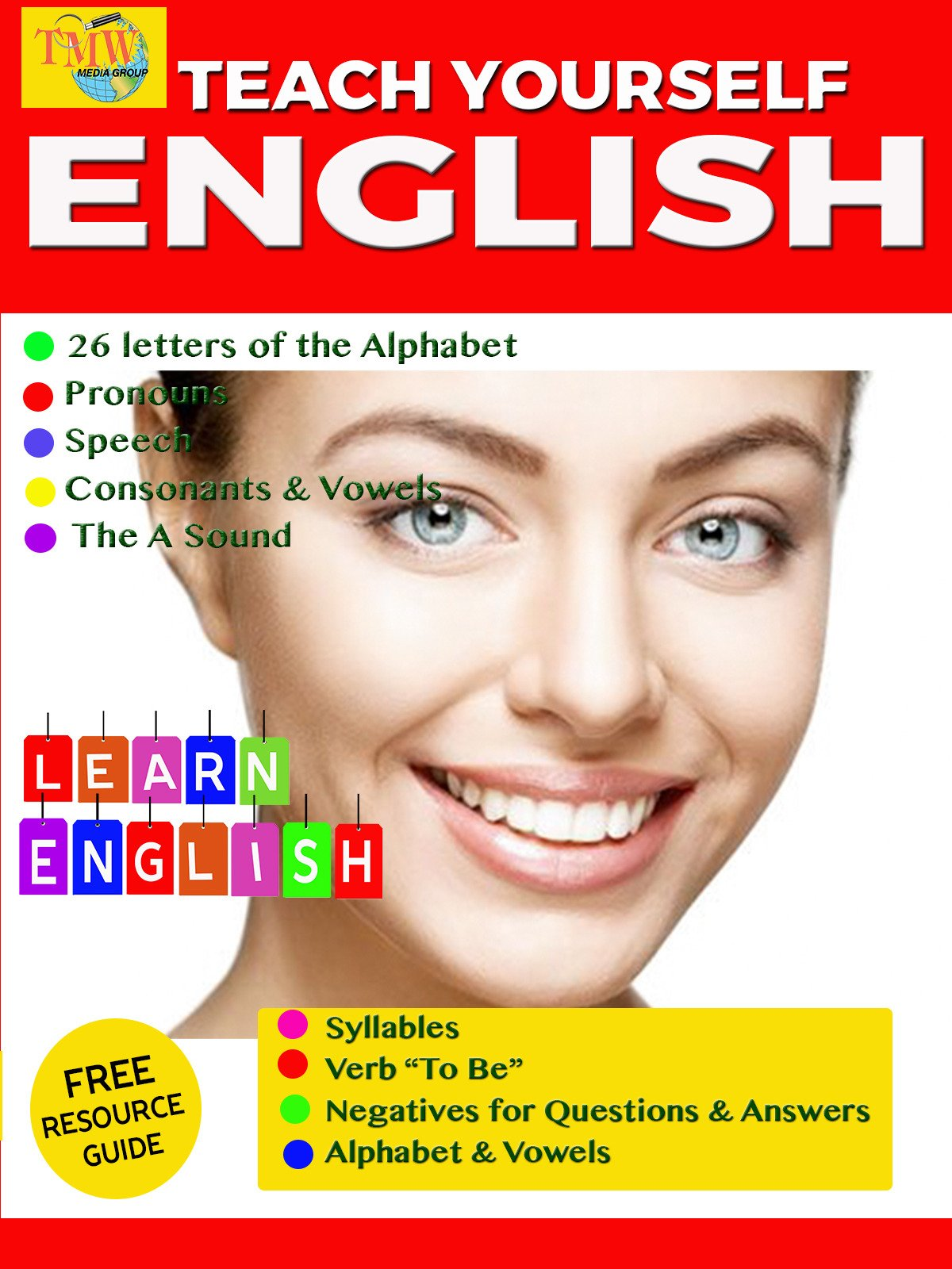Teach Yourself English Part 1: The 26 letters of the Alphabet, Pronouns, Speech, Consonants & Vowels, the A Sound, Syllables, Verb To Be, Negatives for Questions & Answers