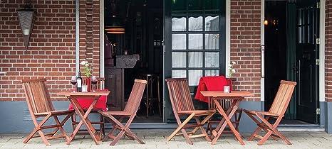 Bistro Gartenmöbel Set (Gartentisch 70 x 70 cm + 2 Stuhle), aus exklusivem Mahagoni Hartholz, klappbar