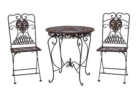 Mesa de jardín + 2x silla de la antiguedad del hierro sillas de bistro estilo