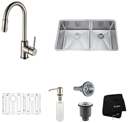 Kraus KHU103-33-KPF1622-KSD30SN 33 inch Undermount Double Bowl Stainless Steel Kitchen Sink with Satin Nickel Kitchen Faucet and Soap Dispenser