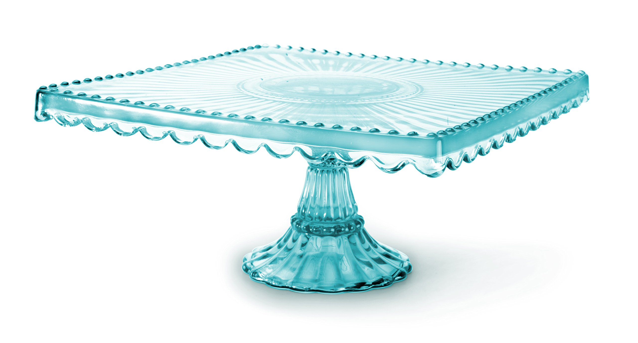 Loire glass square cake stand blue ebay for Colored glass cake stand