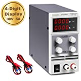 DC Power Supply Variable 30V 5A 4 Digits LED Display [Upgraded Version] Precision Adjustable DC Bench Power Supply Regulated DC Power Supply with 2 Alligator Clip Leads