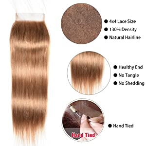 Mother's Day Gifts Honey Blonde Straight Lace Closure Free Part (27#) Blonde Brazilian Virgin Human Hair 4x4 lace Closure With Baby Hair 10inch (Color: #27, Tamaño: 18 closure)