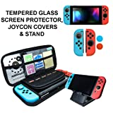Nintendo Switch Accessories - Starter Kit, Stand, Glass Screen Protector, JoyCon Covers, 20 Game Holder | Protective Travel Carry Shell Pouch (Color: dark)
