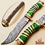 NoonKnives: Hand Made Damascus Steel Collectible Bowie Knife & Handle Camel Bone with Pakka Wood (Green) (Color: Green)
