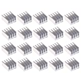 BCP Pack of 20 Aluminum Heatsink Cooler Circuit Board for Raspberry Pi, IC chips, Mosfet with Adhesive Tape, 9x9x5mm