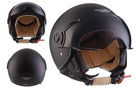 MOTO H44 - matt black - noir Jet moto casque Vespa pilot scooter mofa moto-casque ECE certified - XS S M L XL