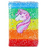 ICOSY Unicorn Sequin Journal Magic Reversible Sequin Notebook Girls Diary Girls Journal Set Mermaid Flip Sequin Notebook Unicorn Journal Gifts for Girls (Color: Rainbow Unicorn/Silver, Tamaño: 8.3