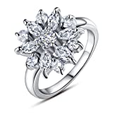 BAMOER 18K White Rose Gold Plated Cubic Zirconia Snowflake Ring for Women Girls CZ Jewelry Fashion Ring 3 Style White Gold & White CZ Ring Size 6 (Color: White Gold & White CZ)