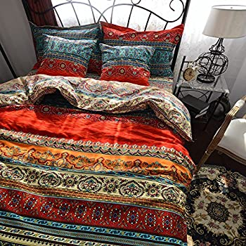 TideTex Bohemia Retro Printing 4PC Bedding Ethnic Vintage Floral Ornament Duvet Cover Boho Rural Style Bedding 100 Pure Cotton Home Textiles (Queen, Photo Color 5)