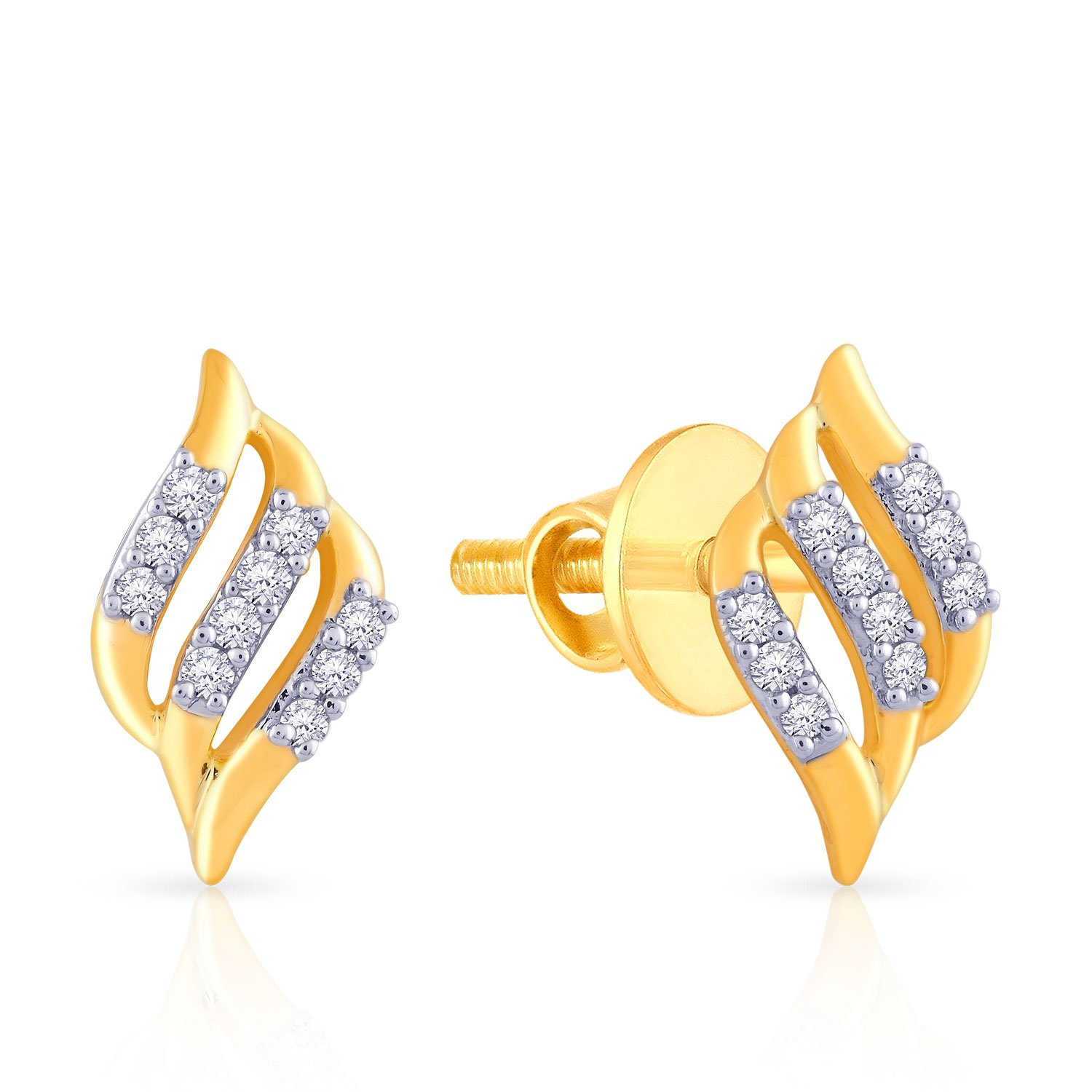Flat 20% off On  Malabar Gold & Diamonds By Amazon | Malabar Gold and Diamonds 18k Yellow Gold and Diamond Stud Earrings @ Rs.8,600