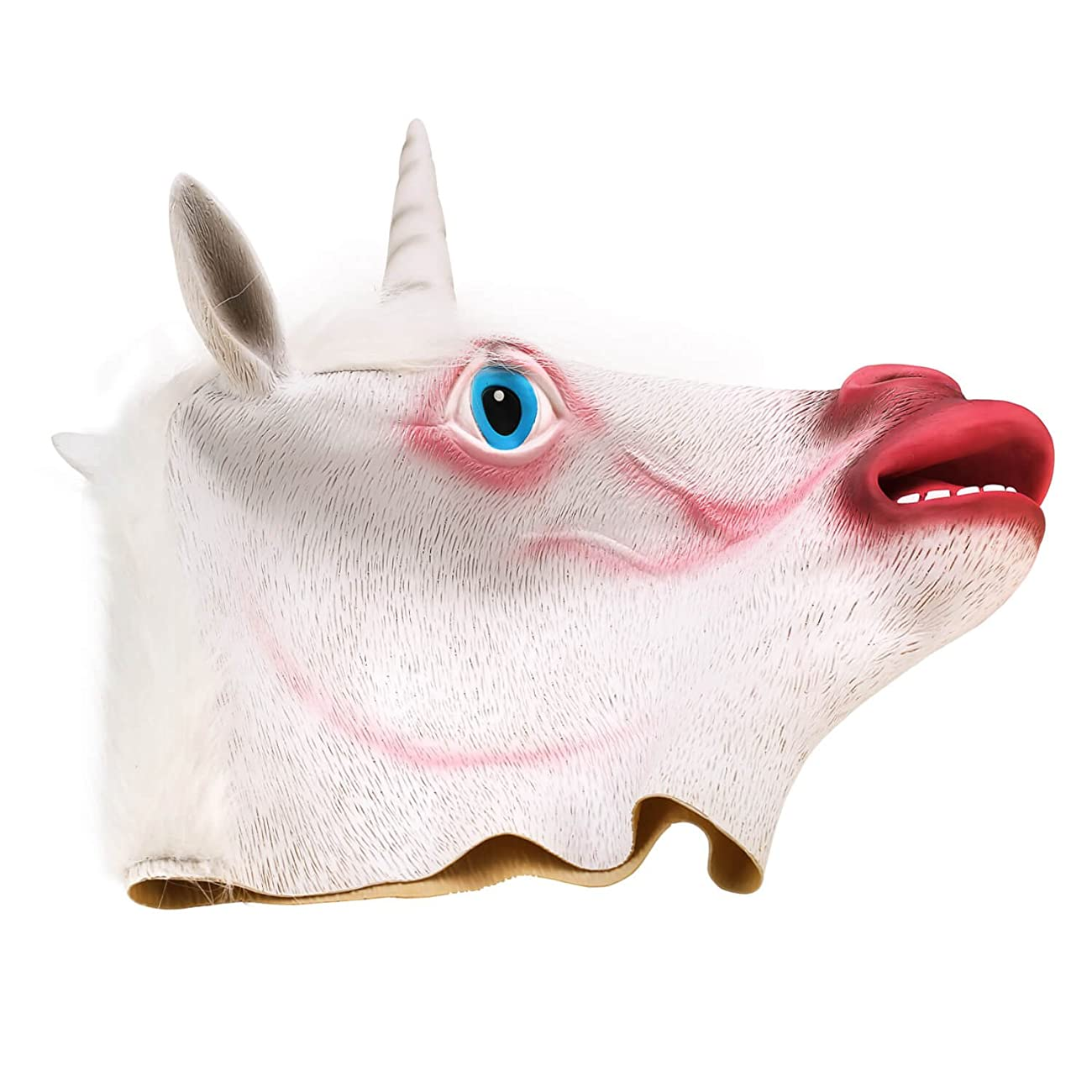 Ylovetoys Unicorn Head Mask Halloween Costume Party Novelty Latex Animal Mask 4