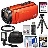JVC Everio GZ-R460 Quad Proof 1080p HD Video Camera Camcorder (Orange) with 64GB Card + LED Light + Case + Tripod + Kit