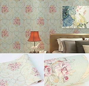 BESTERY Vintage Floral Adhesive Paper Vinyl Shelf Liner Peel Stick Dresser Drawer Sticker Home Deco 17.7inch by 118inch (Multi-Flower3) (Color: Multi-flower3, Tamaño: 17.7W X 118L)