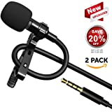 NEW VERSION Lavalier Lapel Smartphone Omnidirectional Microphone, with Lav Mic Clip and Windscreen for iPhone and smartphone - external video recording - easy clip on tie or shirt, IOS, Samsung, DSLR