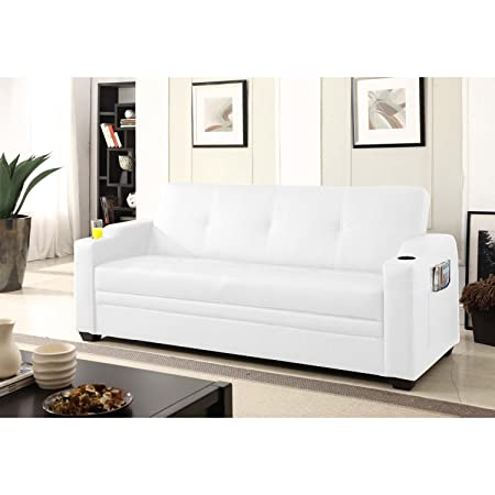 Le Lastovo Blanc : Canapé 3 personnes Convertible Lit et Coffre de Rangement.