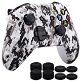 MXRC Silicone Rubber Cover Skin Case Anti-Slip Water Transfer Customize Digital Camouflage for Xbox One/S/X Controller x 1 White+ FPS PRO Extra Height Thumb Grips x 8 (Color: white, Tamaño: Xbox One digital camouflage)