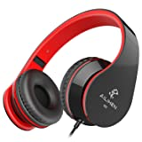 AILIHEN I60 On Ear Headphones with Microphone for Cellphones Laptop Tablet Android Smartphones(Black Red) (Color: Black)