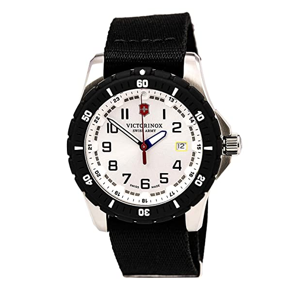 Victorinox Men's 241676.1 Analog Display Swiss Quartz Black Watch (Color: White/Nylon)