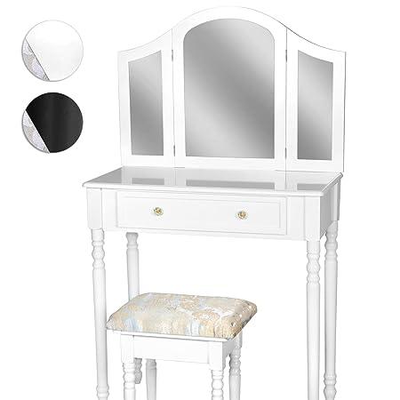 Tocador blanco con espejo, cajón y taburete