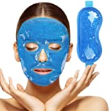 2pcs Gel Beads Face & Eye Masks Kit Hot/Cold Mask Cooling Ice/Heat Facial Eye Pack Therapy for Puffy Eyes, Migraines, Headaches, Pain Relief with Soft Back Reusable (Color: Cold Face Mask)