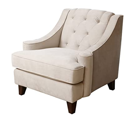 Abbyson Living Emily Velvet Fabric Tufted Armchair, Beige