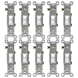ENERLITES Toggle Light Switch, Single Pole, 15A 120-277V, Grounding Screw, Residential Grade, UL Listed, 88115-W-10PCS, White (10 Pack) (Color: White Single Pole 15A (10 Pack))