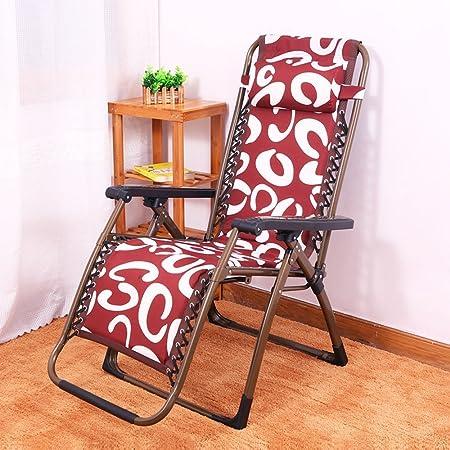 DIDIDD Más sillas plegables gruesas de algodón reclinable sillas plegables de acero reforzado con tubo silla de tarde tumbonas perezosas (estilo opcional),A