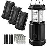 Etekcity 4 Pack LED Lantern Camping Magnetic Lights Dimmer Button Brightness Control with Batteries, Camping Gear for Hiking, Power Outage, Fishing, Storm (Collapsible, Upgraded CL30)