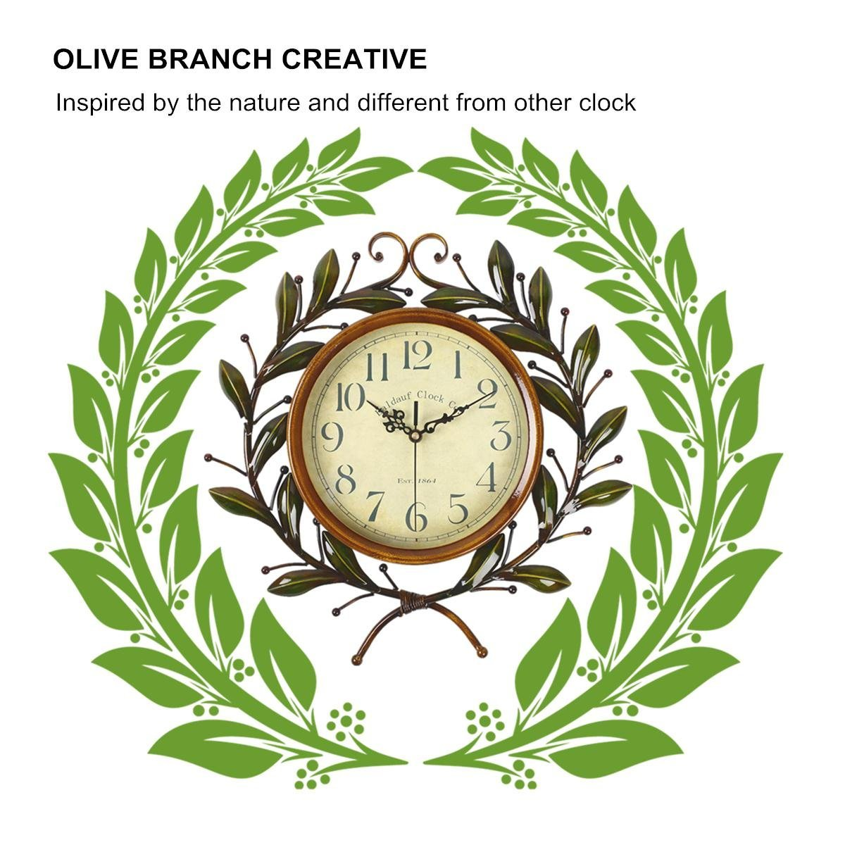Soledi Vintage Wall Clock Classic Silent Non-ticking For Home Decoration Olive Branch Design 4