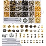 Caydo 400 Set 4 Style Snap Fasteners Kit Including Leather Rivets, Eyelets, Grommets, Binding Screws, Snap Buttons Press Studs kit with Fixing Tools for Thin Leather, Jacket, Jeans Wear