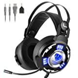 Kekilo Stereo Gaming Headset with Mic for Xbox One PS4 - Noise Canceling Gaming Headphone with Lights, Bass Surround, Soft Memory Earpiece for Nintendo Switch, Notebook, PC Gamer Headset (Color: Gaming Headset with LED light)