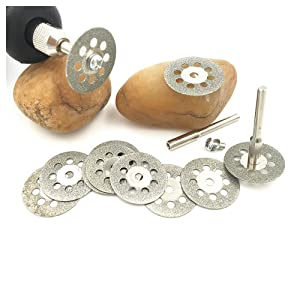 Lukcase 10 pcs Diamond Cutting Wheel Cut Off Discs Coated Rotary Tools W/Mandrel 22mm for Dremel (Tamaño: Disc F:22mm)