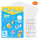SoFire 12 Sheets Semitransparent Shrink Film Shrinky Art Film Paper with 10 Pack Key Chains and One Unicorn Traceable Template (Blank Sheet)