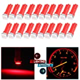 cciyu 20 Pack T5 Red 58 70 73 74 Dashboard Gauge 1-SMD 5050 LED Wedge Lamp Bulbs Lights Replacement fit for Dashboard instrument Panel Light Bulbs LED Lamps (Color: Red)