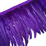 Sowder Rooster Hackle Feather Fringe Trim 10-12inch in Width Pack of 1 Yard(Purple) (Color: Purple)