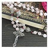 elegantmedical Handmade Pink Quartz Crystal Beads Sterling Silver Catholic Rosary Cross Crucifix Necklace Box (Color: silver, Tamaño: 23