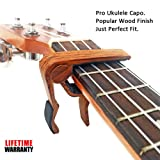 Ventico Wooden Pro Ukulele Capo for Soprano Contert Baritone,Rosewood with Bag (Color: Rosewood)