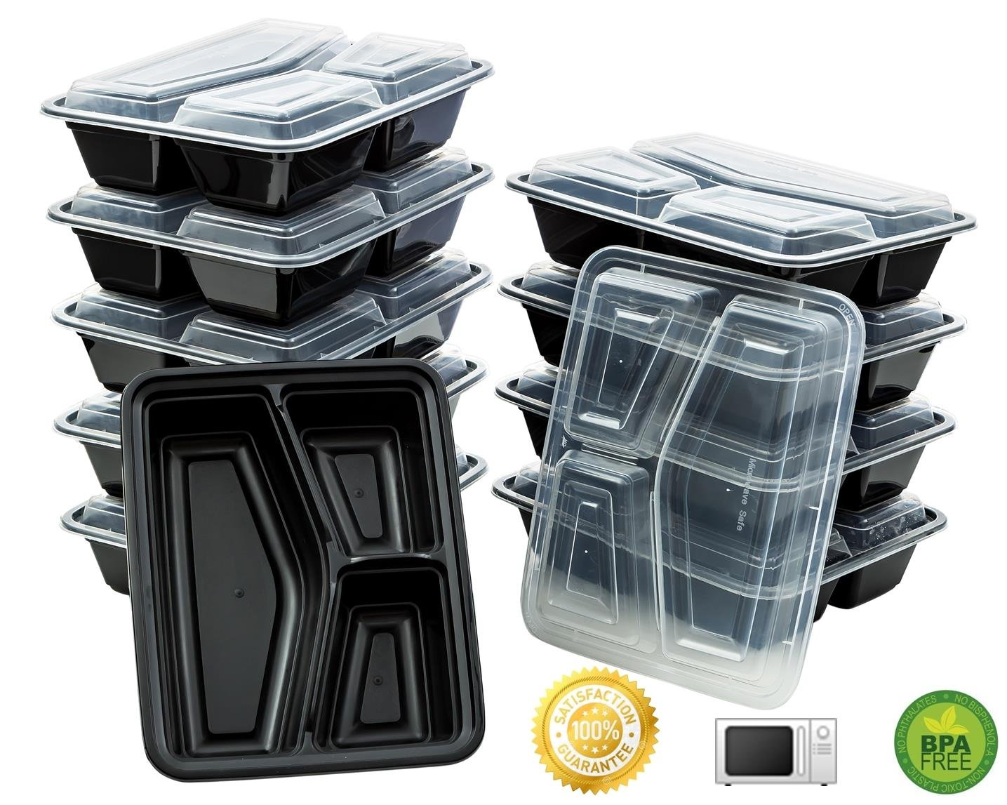 10 meal prep containers 3 compartment food storage plastic microwavable reusable ebay. Black Bedroom Furniture Sets. Home Design Ideas