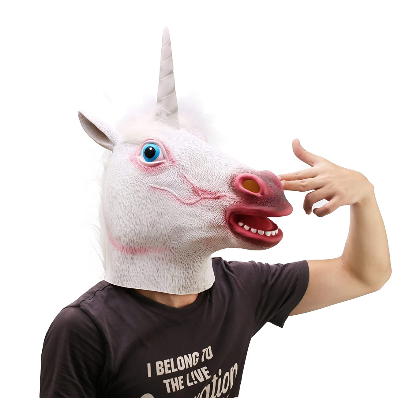 Ylovetoys Unicorn Head Mask Halloween Costume Party Novelty Latex Animal Mask 2