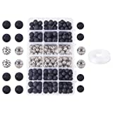 PH PandaHall 200 Pcs Natural Round Black Lava Stone Beads with 100 Pcs Alloy Spacer Beads and 0.8mm Stretchy Beading Elastic Wire 10m per Roll for Jewelry Making (Color: 2 Colors-300 Pcs, Tamaño: 3 Styles-Daimete 8~10mm)