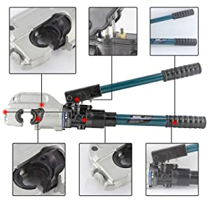 IBOSAD Semi-Automatic Hydraulic Cable Lug Crimper Tool 1/0 AWG-750 MCM Electrical Terminal Wire Crimping Plier Kit,marked with AWG