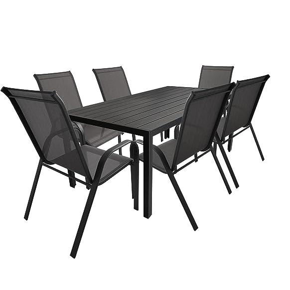 7tlg. Mobili da giardino in alluminio POLYWOOD giardino tavolo 205x 90cm + sedia impilabile sedia da giardino impilabili Telaio in acciaio verniciato a polvere con DPI terrazza mobili Seggiolino, gruppo mobili da giardino