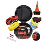 Roadside Emergency Kit Auto Assistance Contains-Jumper Cables with Surge Protective Device (SPD), Retractable Reflective Safety Cone, Tow Strap, Safety Hammer, LED Flash Light and More